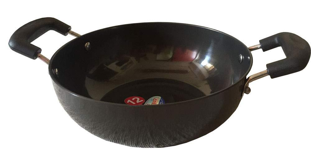 Hindalco Aluminium Kadai,Cookware Pan Size No-12, 3 mm,Aluminium Kadai,Kadhai Pan,Frying Pan,kadai indian for frying