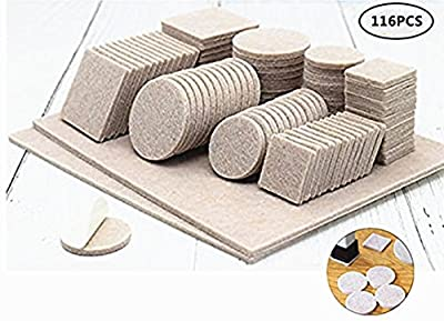 PiXiu-XP 116 PIECE-Variety Size Felt Pads Premium Furniture Pads Antiwear and noise prevention of chair furniture protection pad.Best Floor Protectors for your Hardwood & Laminate Flooring.