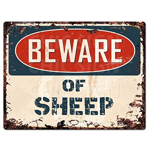 Beware of SHEEP Chic Sign Vintage Retro Rustic 9