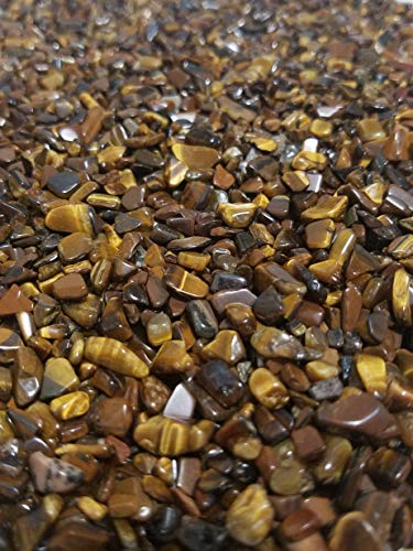 JM 1.1 lb Tiger's Eye Nature Stones & Crystal Tumbled Chips Gemstone Crushed Pieces Irregular Shaped Jewelry Making Home Crafts Projects Flower Pot Fish Tank Decoration Gift