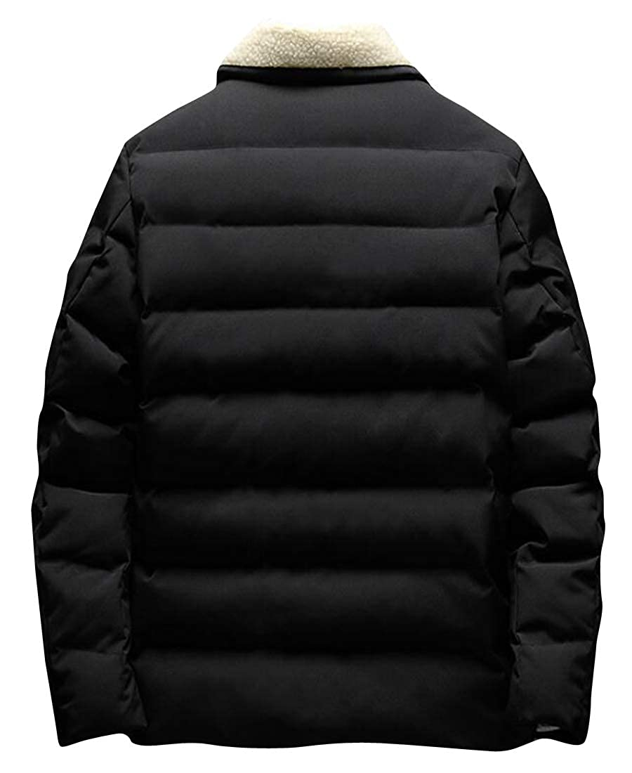 ARTFFEL Men Winter Thickened Slim Faux Fur Collar Down Quilted Coat Jacket Outerwear