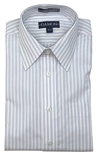 Spread Collar Multi Stripe Ultra Pinpoint Dress Shirt (Blue Lilac, 17 34/35) ()