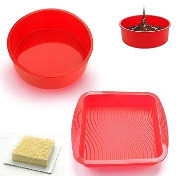 SMUER Molde De Silicona Rectangular Redondo para Tartas Flexible Antiadherente para Hornear Cocina Silicona, Rojo: Amazon.es: Juguetes y juegos