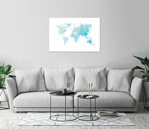 World Map Watercolor Art Print Wall Decor Image Unstretched