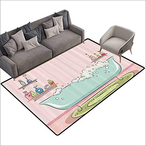 "Soft Area Rug for Children Baby Teens Girls Women Decor Collection,Illustration of Bathtub with Bubbles in Girly Room Aroma Oil Lamps Aromatherapy,Pink Blue 60""x 96"",Custom Floor mats"