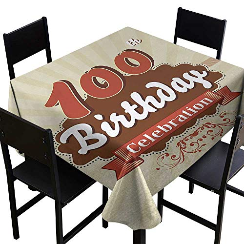 Glifporia Square Tablecloth for Wedding Black 100th Birthday,Chocolate Wrap Like Brown Party Invitation Hundred Years Celebration,Cinnamon and Cream,W54 x L54 Square Tablecloth ()
