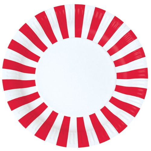 Paper Eskimo 12-Pack Party Plates, Candy Cane Red (Plates Striped Paper)