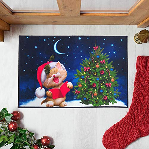 Mimgo-shop Little Cat Christmas Doormat Indoor/Outdoor Christmas Welcome Mat Rubber Backing Non-Slip Xmas Home Decoration 23.6 x 15.7 (Mats Door Xmas)