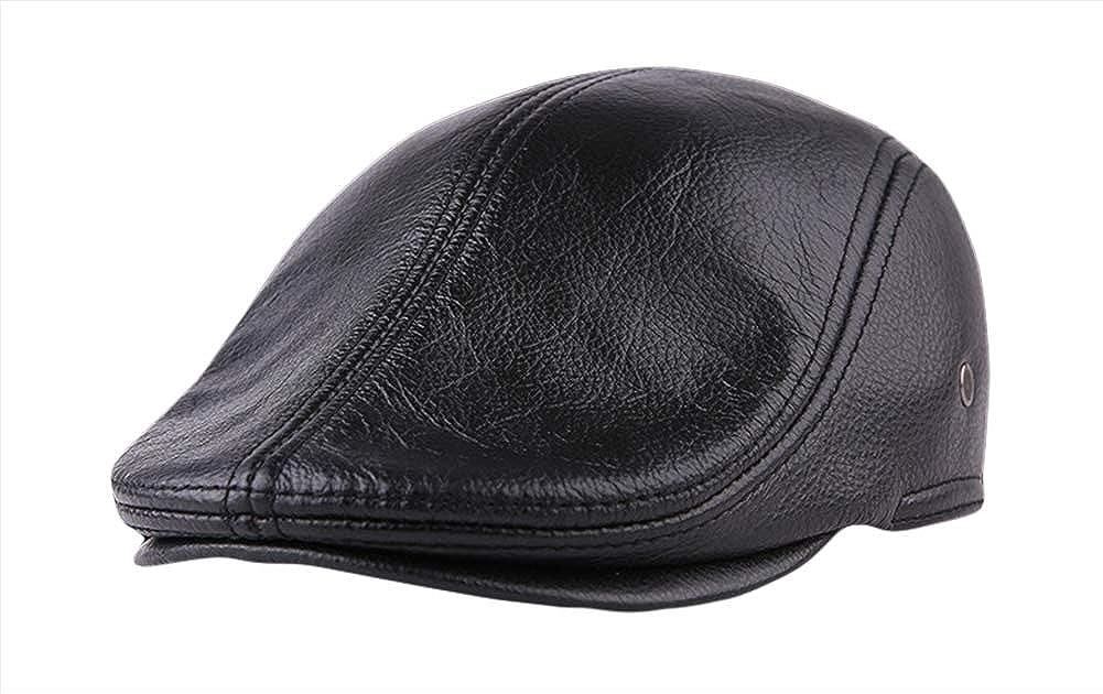 Insun Mens Vintage Genuine Leather Newsboy Cap Earflap