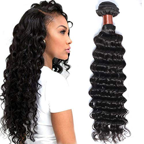 (BLACKMOON HAIR Brazilian Virgin Hair Deep Wave Bundles One Bundle Unprocessed Virgin Remy Human Hair Extension Deep Curly Hair Weave Natural Color(24 Inch))