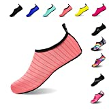 Mens Womens Water Shoes Barefoot Beach Pool Shoes Quick-Dry Aqua Yoga Socks for Surf Swim Water Sport (Pink, 38/39EU)