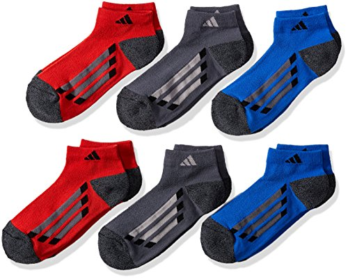adidas Boys / Youth Cushioned Low Cut Socks (6-Pack), Blue/Onyx-Black Marl/Light Onyx/Black, Large