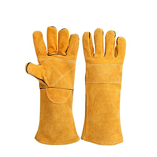 Leather Welding Gloves Cotton Padded Kevlar Stitching Welding Gloves Gauntlets Heat Resistant for Tig Welders Mig Woodburner Fireplace Stove Grill Barbecue Long Length Cuffs HCT09-US Yellow by Hersent