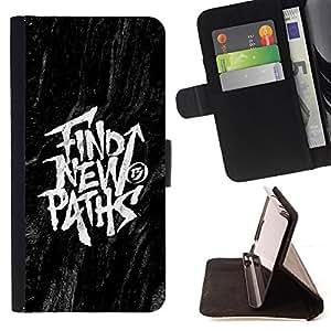 BullDog Case - FOR/HTC DESIRE 816 / - / FIND NEW PATHS BLACK INSPIRING MESSAGE /- Monedero de cuero de la PU Llevar cubierta de la caja con el ID Credit Card Slots Flip funda de cuer