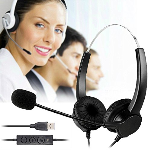 BizoeRade USB Plug Corded Headphone Call Center Comfort Noise Cancelling Headset With Adjustable Mic, Mute Volume Control for Calls on Laptops PCs Computers - [Binaural] (Skype Customer Service compare prices)