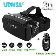 ubmsa Lunettes de VR/3D VR Virtual Reality Lunettes Head Kit 3D Lunettes pour VR 3,7~ 5,5+ Game padsmartp Smartphone Bluetooth pour vos films 3D/Jeux, mieux que Google Carton, iPhone5/6/6S avec kopfhalterung + Manette Bluetooth