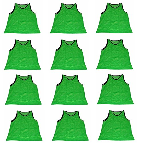 Polyester Training Bibs (Workoutz Adult Green Soccer Pinnies (Set of 12) Scrimmage Vests Mesh Training Bibs)