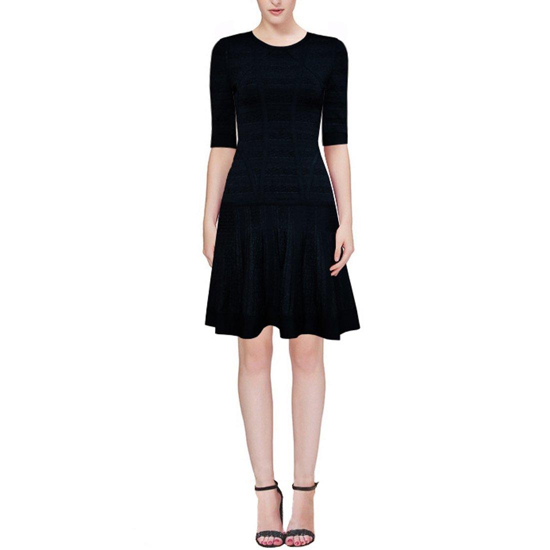 HLBCBG Damen Kleid weiß schwarz XS