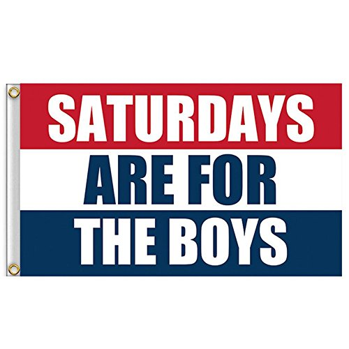 Besde Home Decor Saturdays Are For The Boys Flag 3x5ft Banner Red White Blue (A, (Saturday Halloween)