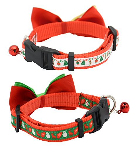 2 Pack Christmas Santa Snowman Holiday Xmas Collar for Cats Kitten With Bowtie, Adjustable 8