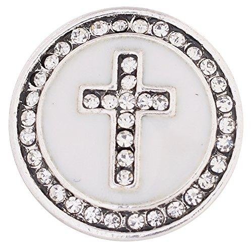 - Lovmoment Snap 20MM Faith Cross Shape with White Rhinestone Snap Jewelry 2pcs