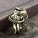 Vintage Bronze Octopus Sea Monster Squid Kraken Punk Antique Ring Retro by YZAM