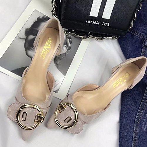boca satén Mujer de Zapatos de plana Salvaje 35 rosado Solo Zapatos el superficial con wzXqpp