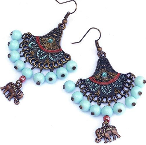 - Hand Painted Funky Colorful Boho Elephant Dangle Chandelier Earrings Bohemian Hippie Jewelry for Women