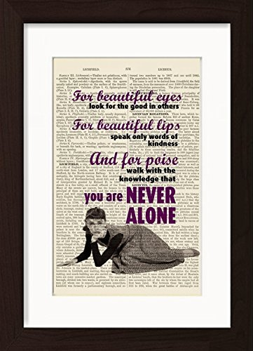 Audrey Hepburn Inspired Beautiful Eyes QuoteReady To Frame Mounted /Matted Dictionary Art Print