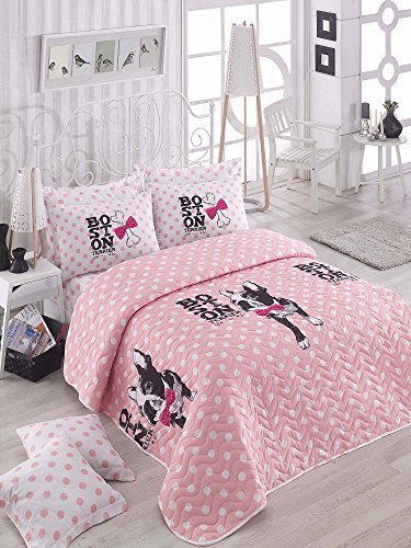 3 Pcs Soft Colored Full and Double Bed Size Bedroom Bedding 65% Cotton Double Quilted Bedspread Set 100% Fiber Filling Padded Soft Relaxed Comfortable Pattern Dog Animal Mottled Bedspread Set by LaModaHome