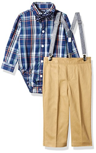 Caramel Apparel - Izod boys 4-Piece Creeper, Bow Tie, Suspenders, and Pants Set, Caramel, 12 Months