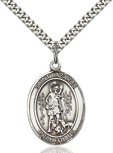 Sterling Silver Saint Lazarus Medal Pendant, 1 Inch ()