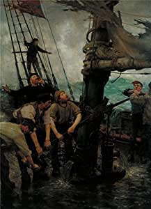 Oil painting 'Henry Scott Tuke - All Hands to the Pumps,1888-1889' printing on Perfect effect Canvas , 8x11 inch / 20x28 cm ,the best Home Theater decoration and Home decoration and Gifts is this High quality Art Decorative Prints on Canvas