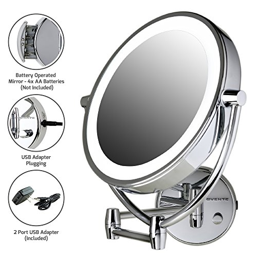 Ovente Wall Mount LED Lighted Makeup Mirror, 9.5 Inch, Battery or USB Adapter Operated, Dimmable, 1x/10x Magnification, Polished Chrome (MLW45CH)