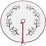 Violet Linen Decorative Christmas Embroidered Leaves Design Tree Skirt, 43'', White