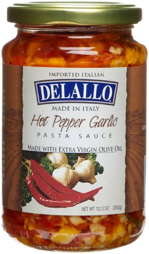 DeLallo Imported Garlic, Oil, & Hot Pepper Sauce, 12.3-Ounce Jars (Pack of 6) - Delallo Olive Oil