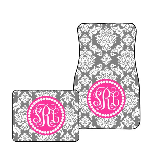 Monogram Car Mats (Tin Tree Gifts Customized Car Floor Mats Personalized Charcoal Damask (All Four (Front and Back)))