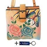 Anna By Anuschka Travel Organizer Purse - Hand Painted Design on Real Leather Crossbody Handbag - Free Key Chain … (3 Copm Antique Rose Safari)