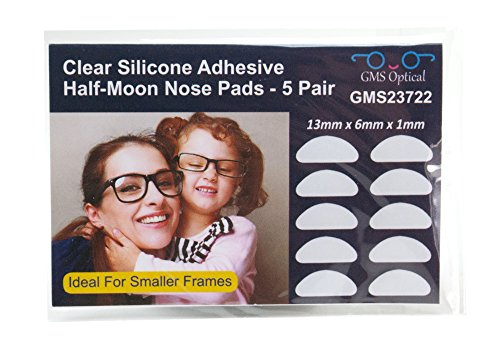 GMS Optical® Premium Silicone 3M Adhesive Half Moon Nose Pads 13mm x 6mm - Ideal for Smaller Frames (5 Pair) - Plastic For Glasses Grips Nose