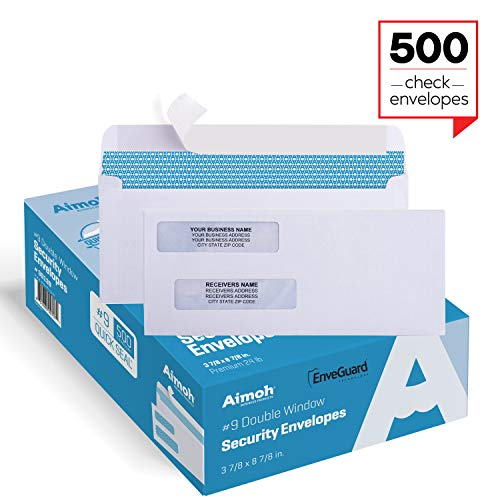 500 Self Seal Double Window Security Check Envelopes - Size 3 5/8 x 8 11/16 Inches - for Business Checks, Fits Perfectly (No Sliding or Moving) - Not for Invoices, - Envelopes Laser Business