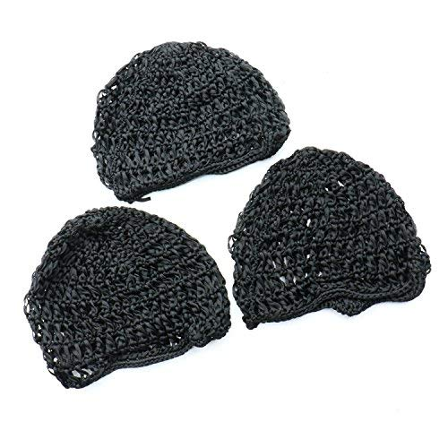 Rugjut Thick and Short Hair Net Snoods,Women Hair Net for Sleeping , 3 Pack , Black ()