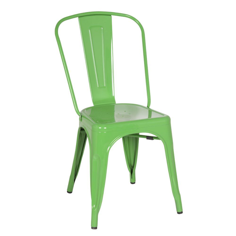 Modern Contemporary Dining Chair, Green, Metal