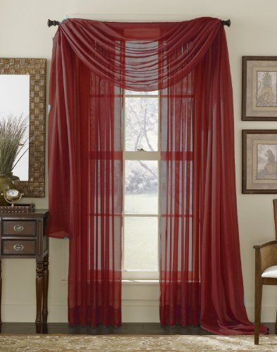 3 Piece Burgundy Sheer Voile Curtain Panel Set: 2 Burgundy Panels and 1 Scarf