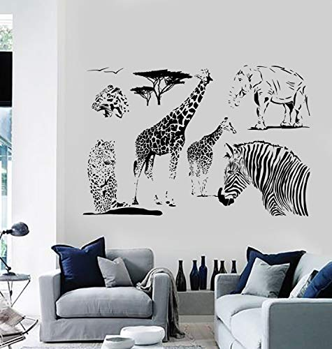 Decals Decor Wall Vinyl Decal Giraffe Zebra Elephant African Animal Decor Mural Art Made in The USA only!