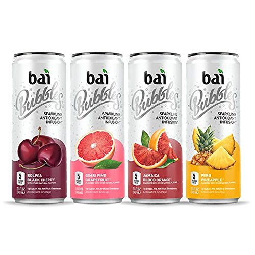 - Bai Bubbles Sparkling Water, Voyager Variety Pack, Antioxidant Infused, 11.5  Fl. Oz Can, 12 count, 3 each of Bolivia Black Cherry, Gimbi Pink Grapefruit, Peru Pineapple, Jamaica Blood Orange