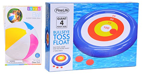 Extra Large Big Bullseye Toss Swimming Pool Inflatable Game Float Toy Unique Fun Gift Idea for Men Him Dad Adults Kids Teens Boys Girls with Intex Inflatable Ball