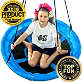 Saucer Tree Swing - 40' Round Swing Set - Attaches to Trees or Existing Swing Sets - Create Your Own Outdoor Backyard Playground - Adjustable Hanging Ropes - for Kids, Adults and Teens - Blue