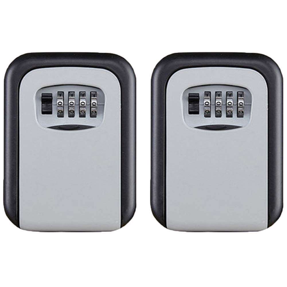 TQGOLD Key Lock Box Wall Mount Key Safe House Key Storage Lock Box with 4 Digits Combination Outdoor Key Safe Lock Box for Outside (017-Gray, 2 Pack) by TQGOLD