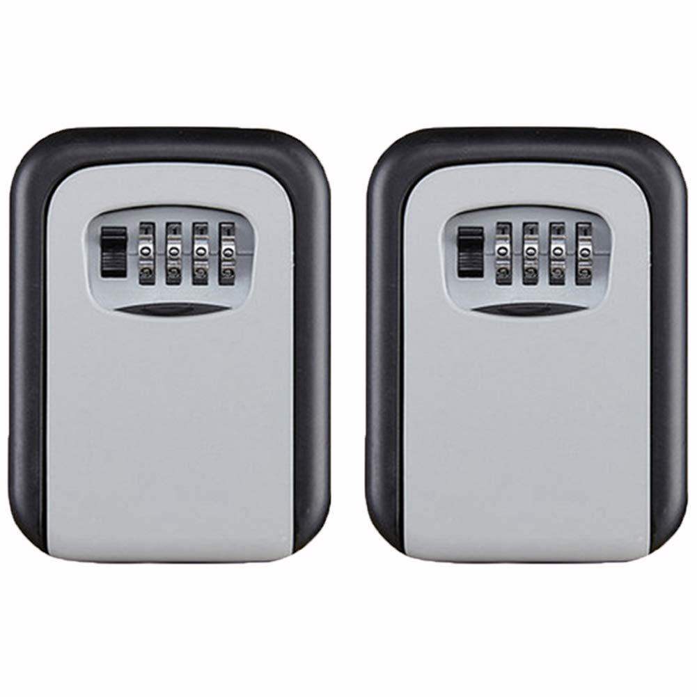 JZDZ Key Lock Box Wall Mount Key Safe House Key Storage Lock Box with 4 Digits Combination Outdoor Key Safe Lock Box for Outside (017-Gray, 2 Pack)
