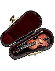 SODIAL Gifts Violin Music Instrument Miniature Replica with Case, 8x3cm
